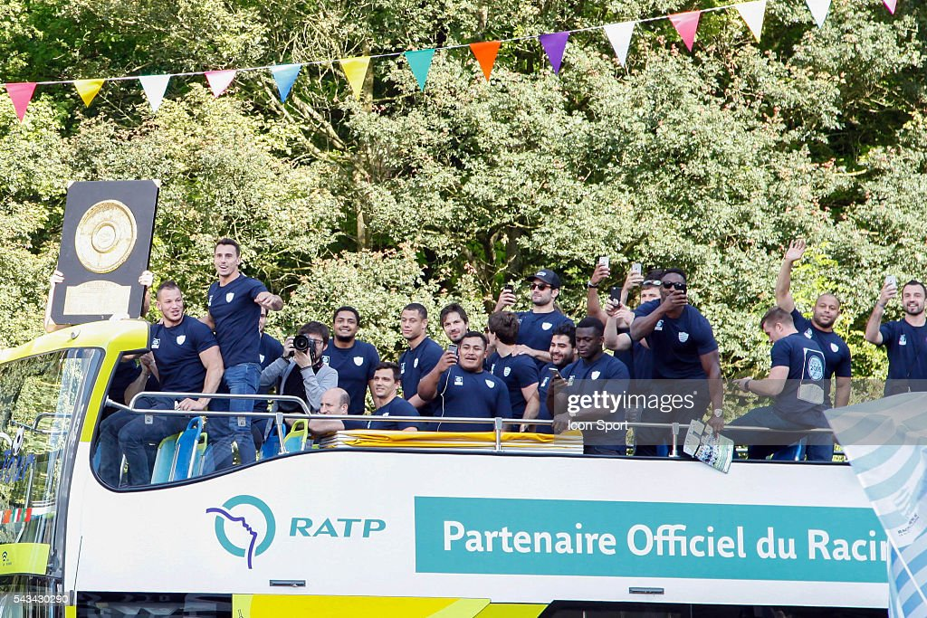 Racing 92 Team with the trophy during the presentation Trophy Top 14 - Racing92 at Mairie de Plessis Robinson on June 28, 2016 in Plessis Robinson, France.