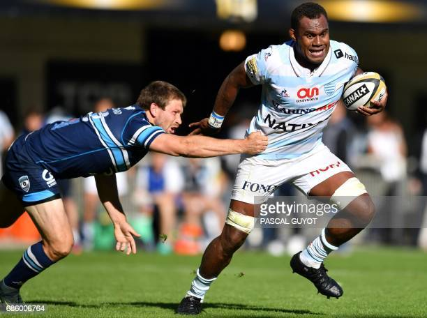 Racing 92's Fijian lock Leone Nakarawa vies with Montpellier's South African Francois Steyn during the French Top 14 Rugby union match between...
