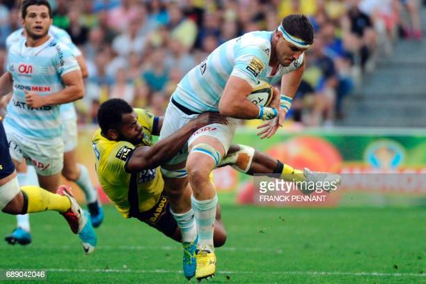 Racing 92's South African lock Gerbrandt Grobler vies with Clermont's Fijian flanker Peceli Yato during the French Top 14 rugby union semifinal match...