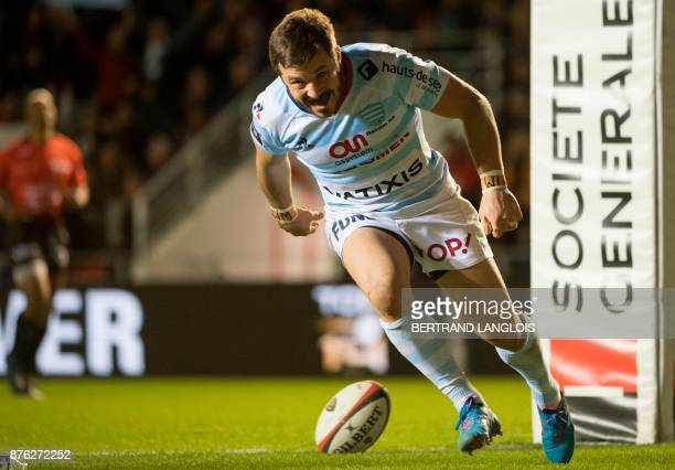 Racing 92's winger Marc Andreu reacts after scoring a try during the French Top 14 rugby union match RC Toulon vs Racing 92 on November 19 2017 at...