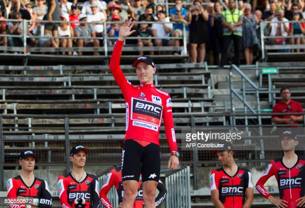 BMC Racing Australian cyclist Rohan Dennis celebrate on the podium as Red Jersey after the first stage of the 72nd edition of 'La Vuelta' Tour of...