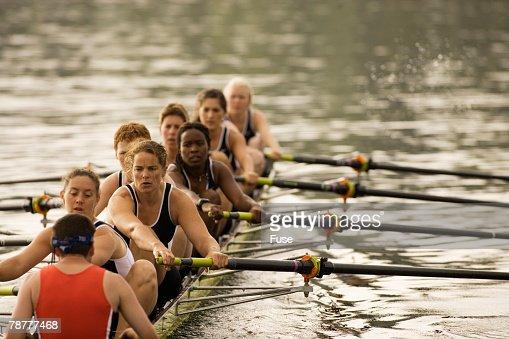 Racing Boat Crew During Practice