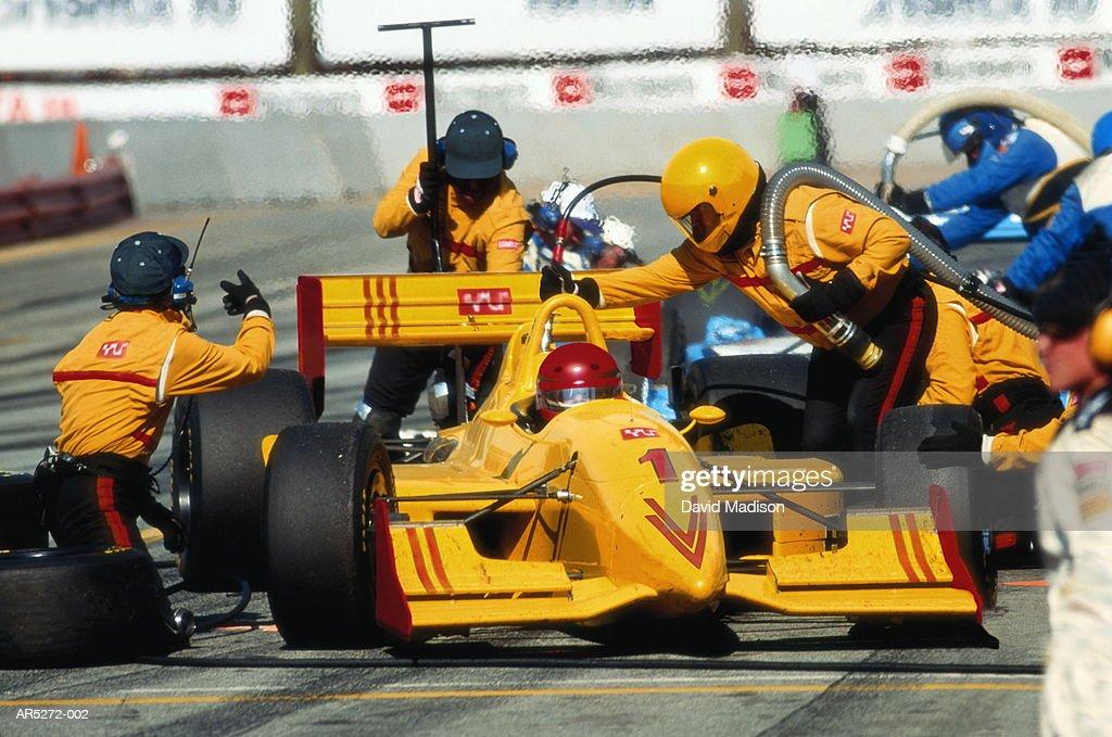 Racing car in pit-stop, California, USA (Digital Enhancement) : Stock Photo