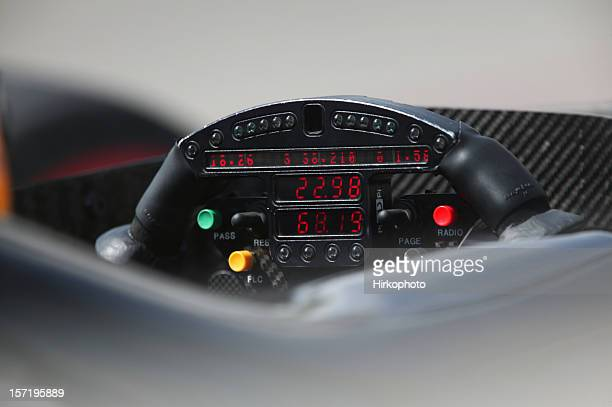 Racing car steering wheel closeup