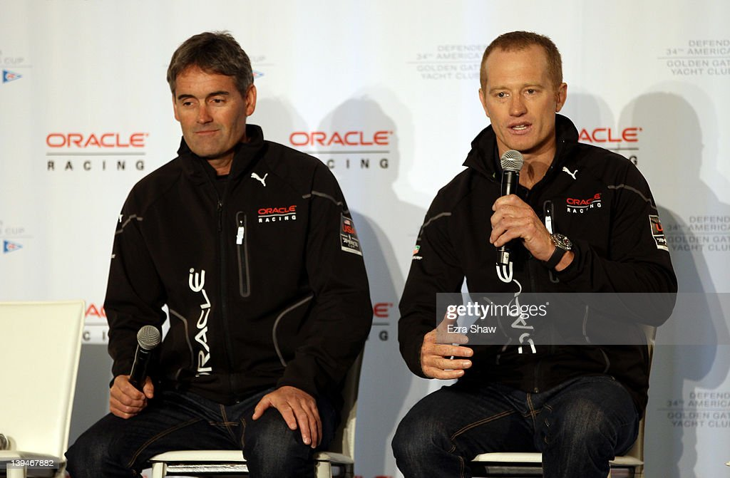 Racing CEO Russell Coutts and skipper James Spithill speak at a press conference at ORACLE Racing team headquarters on February 21 2012 in San...