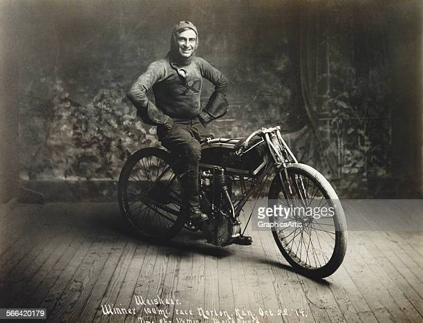 Racing champion Ray Weishaar on his motorcycle silver print 1914 Weishaar had won the 'Hundred Mile Race' in Norton Kansas on October 22 setting a...