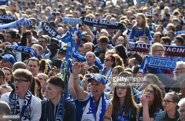 Racing Club de Strasbourg fans celebrate their team winning the French L2 title and heading to the L1 next season in central Strasbourg eastern...