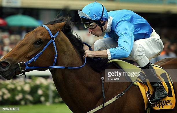 Racing Cox Plate Moonee Valley Race No 4 Bomber Bill Steven Arnold is first past the post 23 October 2004 THE AGE SPORT Picture by RAY KENNEDY