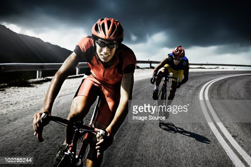 Racing cyclists on road