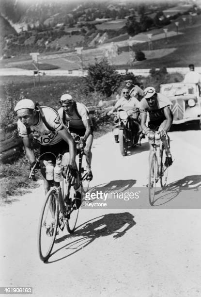 Racing cyclists Prosper Depredomme of Belgium Gino Bartali of Italy and Ferdinand 'Ferdi' Kubler of Switzerland competing in the second Davos to...