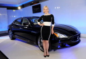 Racing driver and television presenter Vicki ButlerHenderson attends a VIP dinner hosted by Maserati to unveil the new 'Quattroporte' at The...