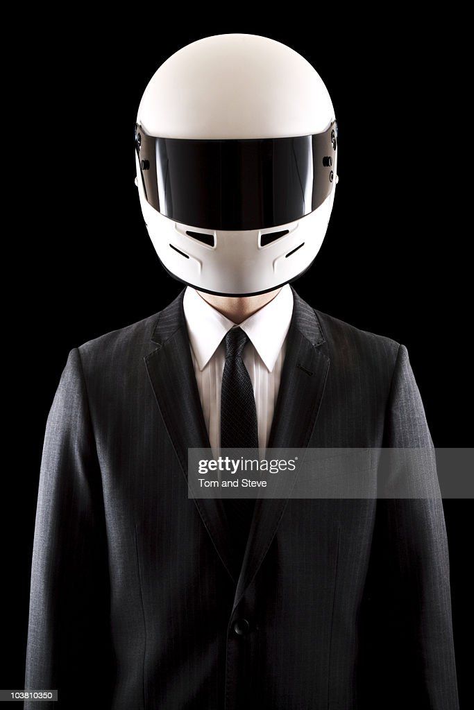 Racing driver Businessman in Pinstripe Suit Straig : Stock Photo