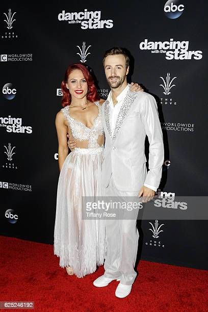 Racing driver James Hinchcliffe and dancer Sharna Burgess attend the 'Dancing With The Stars' live finale at The Grove on November 22 2016 in Los...