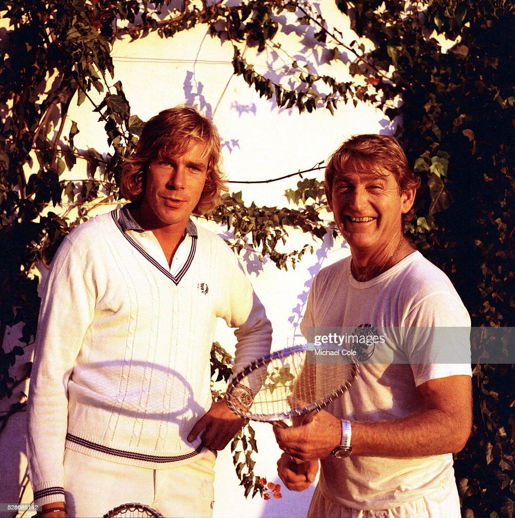 Racing Driver James Hunt & Lew Hoad at Lew Hoad s Campo De Tenis