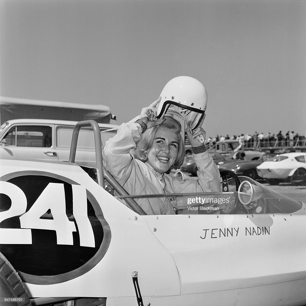 Racing driver Jenny Nadin in her car at the Silverstone Circuit 8th June 1967