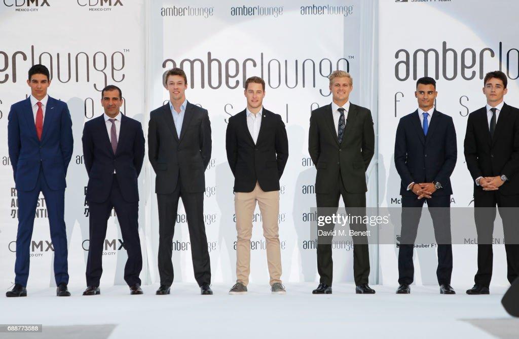 Racing drivers Esteban Ocon, Marc Gene, Daniil Kvyat, Stoffel Vandoorne, Marcus Ericsson, Pascal Wehrlein and Charles Leclerc attend the Amber Lounge Fashion Monaco 2017 at Le Meridien Beach Plaza Hotel on May 26, 2017 in Monaco, Monaco.