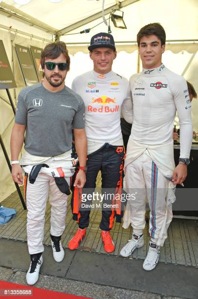 Racing drivers Fernando Alonso Max Verstappen and Lance Stroll attend F1 Live London at Trafalgar Square on July 12 2017 in London England F1 Live...
