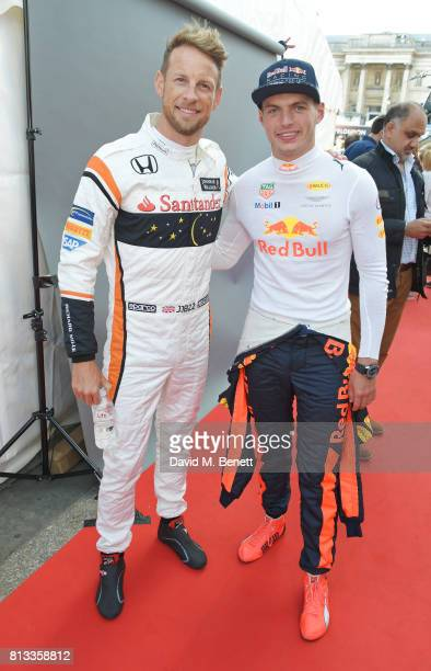 Racing drivers Jenson Button and Max Verstappen attend F1 Live London at Trafalgar Square on July 12 2017 in London England F1 Live London the first...