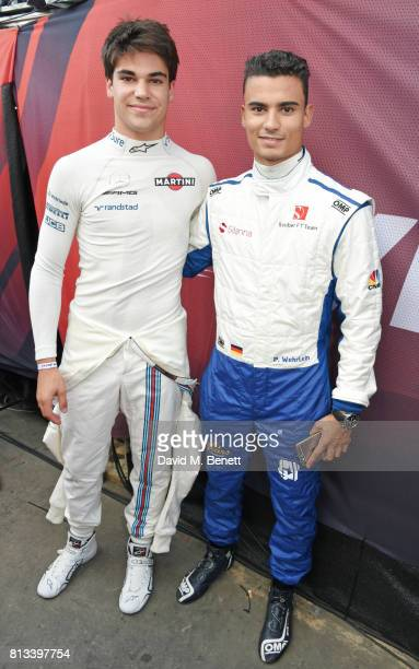 Racing drivers Lance Stroll and Pascal Wehrlein attend F1 Live London at Trafalgar Square on July 12 2017 in London England F1 Live London the first...