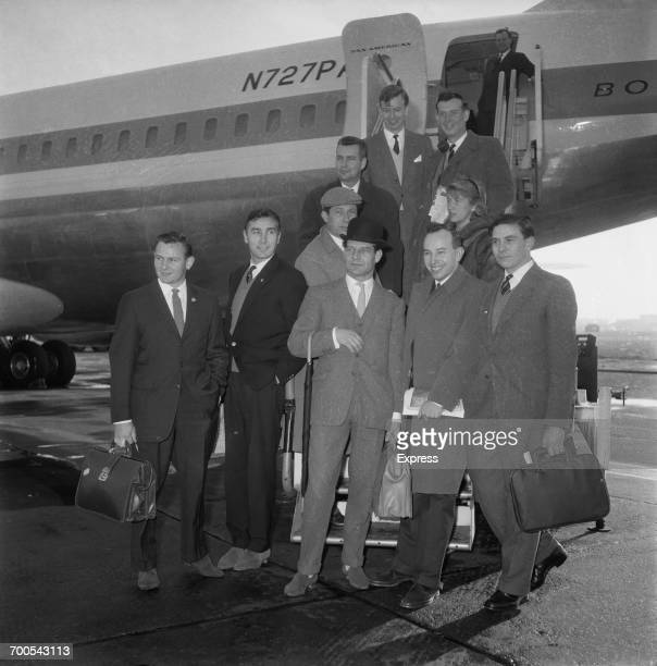 Racing drivers leave London Airport to compete in the United States Grand Prix at Riverside California 14th November 1960 They are Bruce McLaren Roy...
