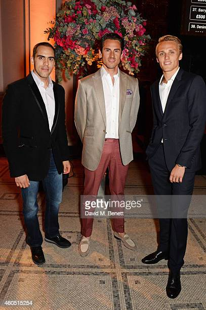 Racing drivers Pastor Maldonado Adrian Sutil and Max Chilton attend The F1 Party in aid of the Great Ormond Street Children's Hospital at the...