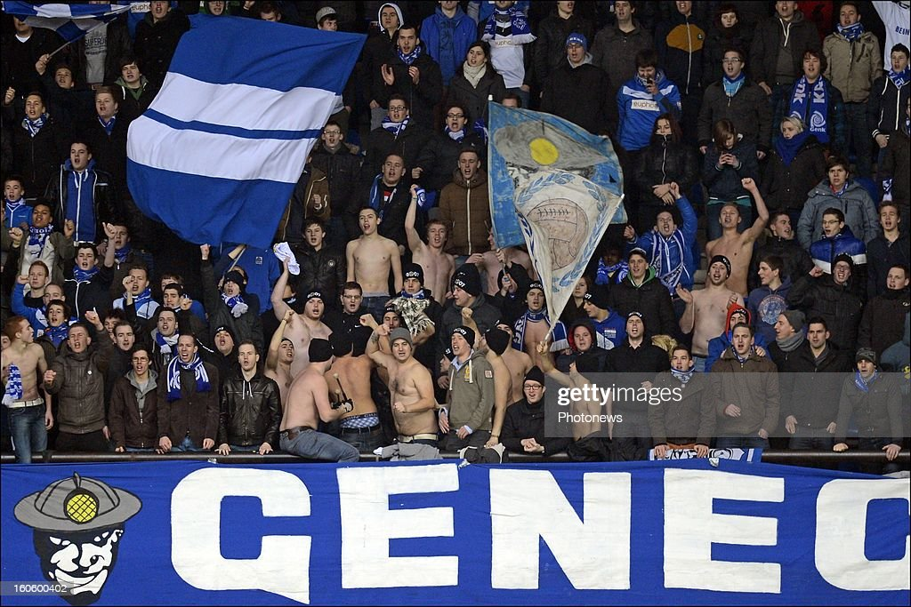 Racing Genk fans during the Jupiler League match between KRC Genk and Club Brugge KV on February 3, 2013 in Genk, Belgium.