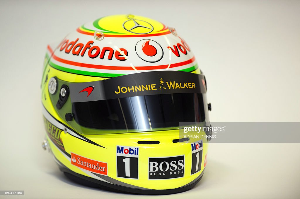A racing helmet belonging to Mexican F1 driver Sergio Checo Perez is pictured during a media launch for the new McLaren Mercedes MP4-28 F1 car for the 2013 season at the McLaren Technology Centre in Woking, southern England, on January 31, 2013. Mexican driver Sergio Perez joins Britain's Jenson Button for the 2013 season following the departure of Britain's Lewis Hamilton.