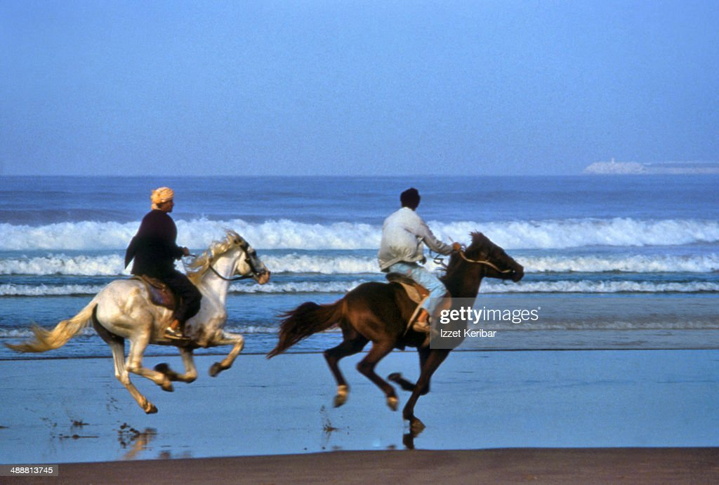 Racing horses on the beach at Agadir