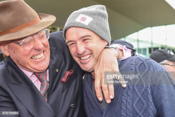 Racing identity Bob Charley congratulates trainer Nathan Dunn after winning the iDetect Maiden Plate at Warrnambool Racecourse on May 03 2017 in...