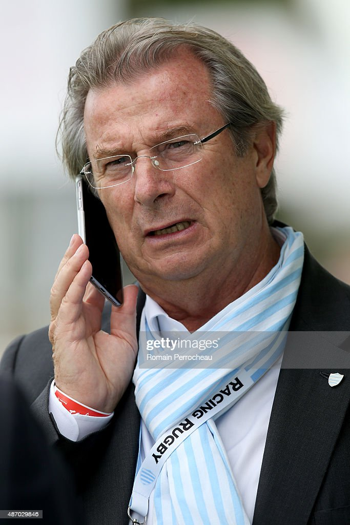 Racing Metro 92 President <a gi-track='captionPersonalityLinkClicked' href=/galleries/search?phrase=Jacky+Lorenzetti&family=editorial&specificpeople=6871513 ng-click='$event.stopPropagation()'>Jacky Lorenzetti</a> before the French rugby League Top 14 between Agen and Racing Metro 92 on September 5, 2015 in Agen, France.