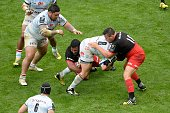 Racing Metro's Chris Masoe vies for the ball during the European Rugby Champions Cup match beetween Racing Metro 92 and Saracens FC at the Parc...