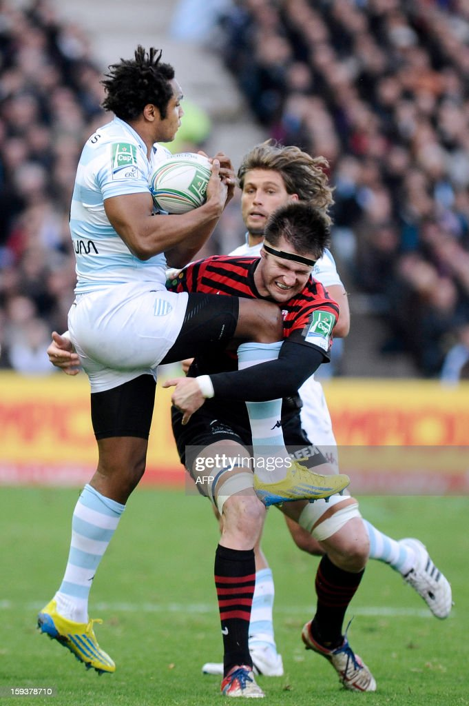 Racing Metro's Full Back Benjamin Fall (L) vies with Saracens' number 8 Joubert Ernst during the European H Cup rugby union match Racing Metro vs Saracens on January 12, 2013 at the Beaujoire Stadium in Nantes, western France.