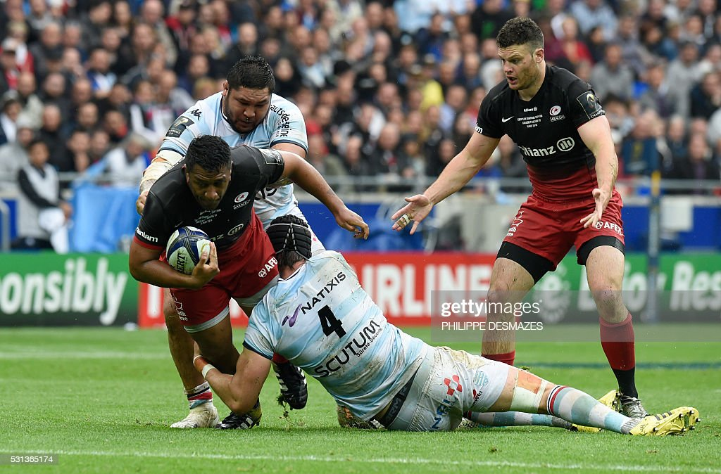 Racing Metro's Luke Charteris vies for the ball during the European Rugby Champions Cup match beetween Racing Metro 92 and Saracens FC at the Parc...