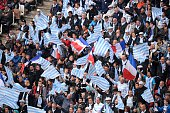 Racing Metro's supporters cheer for their team during the European Rugby Champions Cup match beetween Racing Metro 92 and Saracens FC at the Parc...