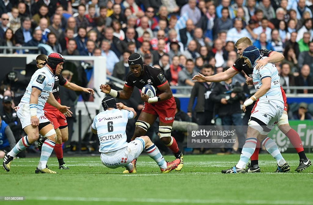 Racing Metro's Wenceslas Lauret vies for the ball during the European Rugby Champions Cup match beetween Racing Metro 92 and Saracens FC at the Parc...