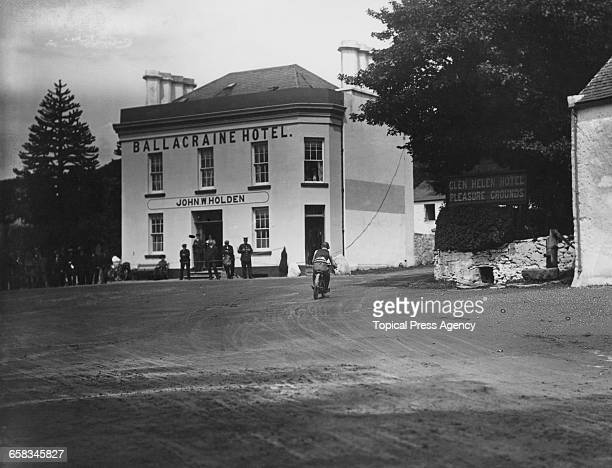 Racing motorcyclist M Stoeffel taling Ballacraine Corner on his Alcyon during the Junior Tourist Trophy at the Isle Of Man TT races 28th June 1912