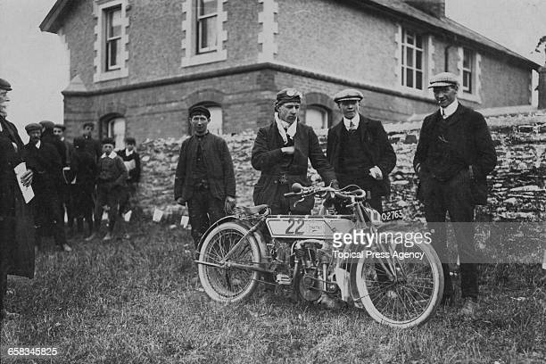 Racing motorcyclist Rem Fowler with the 5 hp Peugeotengined Norton motorcycle on which he won the TT Twin Cylinder race at the inaugural Isle Of Man...