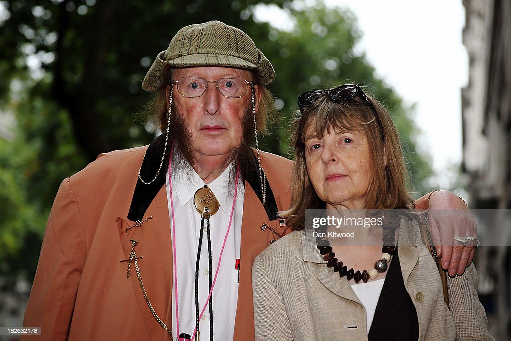 Racing pundit John McCririck and his wife Jenny McCririck arrive at Victory House on the third day of his employment tribunal on October 2 2013 in...