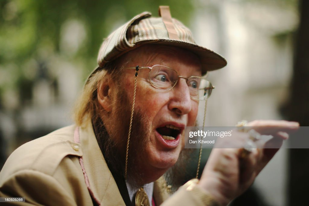 Racing pundit John McCririck arrives at Victory House for the start of his employment tribunal on September 30 2013 in London England Mr McCririck is...