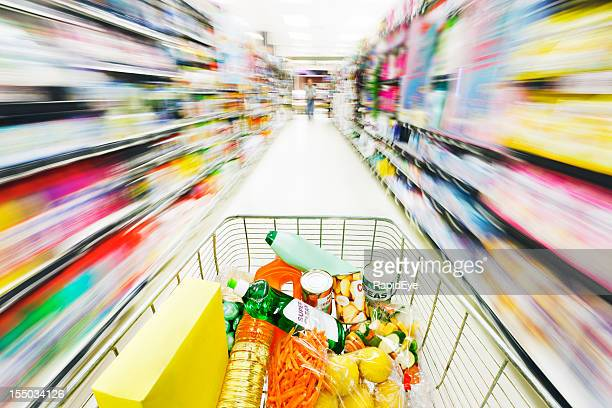 Racing shopping cart turns supermarket shelves into rainbow blurs