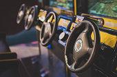 Racing simulator game in theme park.