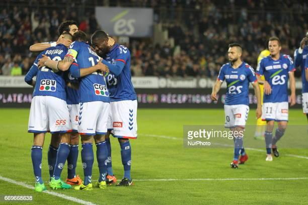 Racing Strasbourg But joie during Racing Strasbourg v Ajaccio Ligue 2 in Strasbourg France on April 17 2017