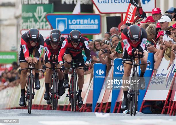 BMC Racing Team competes during the first stage of the 72nd edition of 'La Vuelta' Tour of Spain cycling race in Nimes on August 19 2017 / AFP PHOTO...