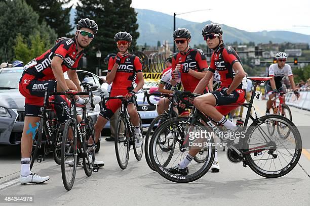 BMC Racing team members Taylor Phinney of the United States Manuel Senni of Itlay Rohan Dennis of Australia and Kilian Frankiny of Switzerland await...