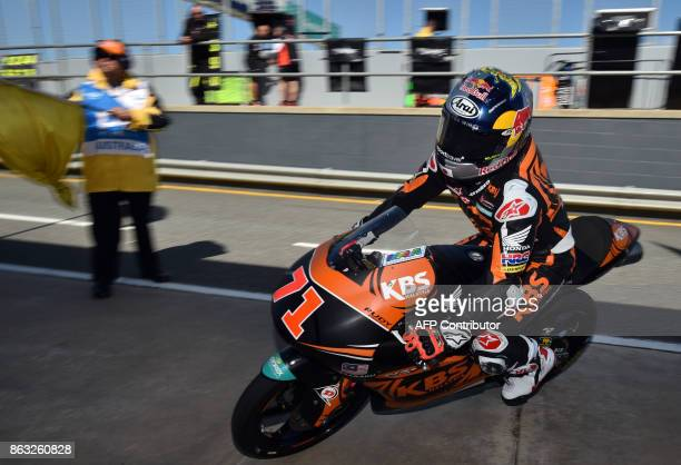 SIC Racing team rider Ayumi Sasaki of Japan enters the pit lane during the Moto3class first practice session of the Australian MotoGP Grand Prix at...