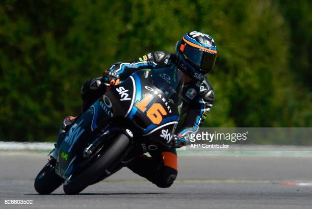 SKY Racing Team VR46 Team's italian rider Andrea Migno rides his KTM during during the qualification of the Moto3 Grand Prix of the Czech Republic in...