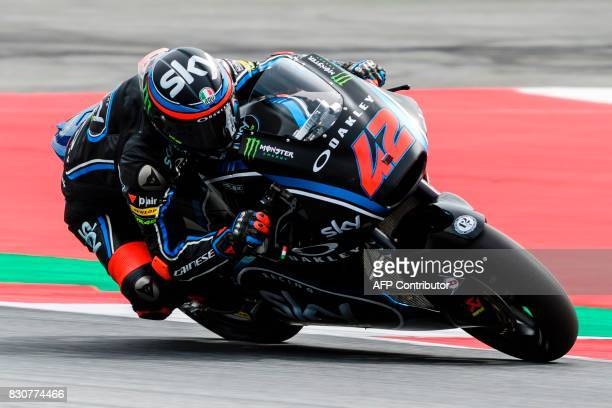 SKY Racing Team VR46's Italian rider Francesco Bagnaia competes during the qualifying session of the Moto2 Austrian Grand Prix weekend at Red Bull...
