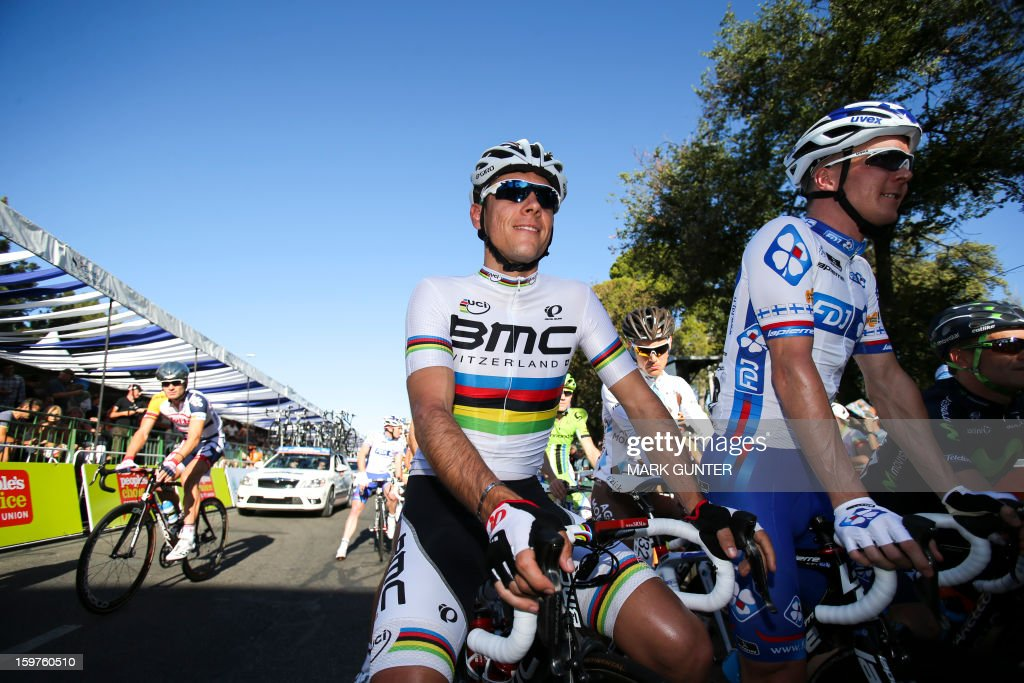 BMC Racing Team's Philippe Gilbert (C) of Belgium is pictured before the start of the 51km People's Choice Classic prior to the Tour Down Under in Adelaide on January 20, 2013. The six-stage Tour Down Under takes place from January 20 to 27. AFP PHOTO / Mark Gunter USE