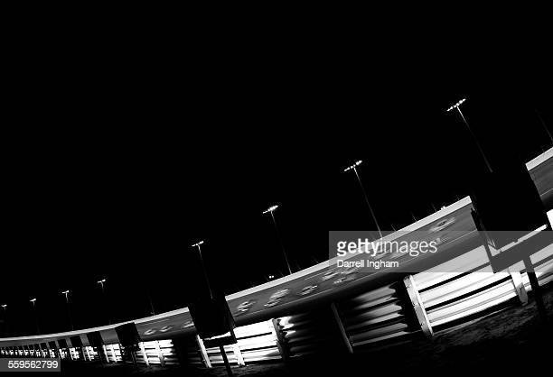 Racing under the lights on a Saturday night during the Budweiser Shootout at the NASCAR Nextel Cup Daytona 500 on February 12 2005 at the Daytona...