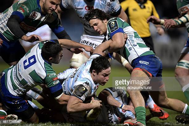 RacingMetro's centre Henry Chavancy tries to score a try on January 18 during the European Rugby Champions Cup rugby union match between Racing Metro...